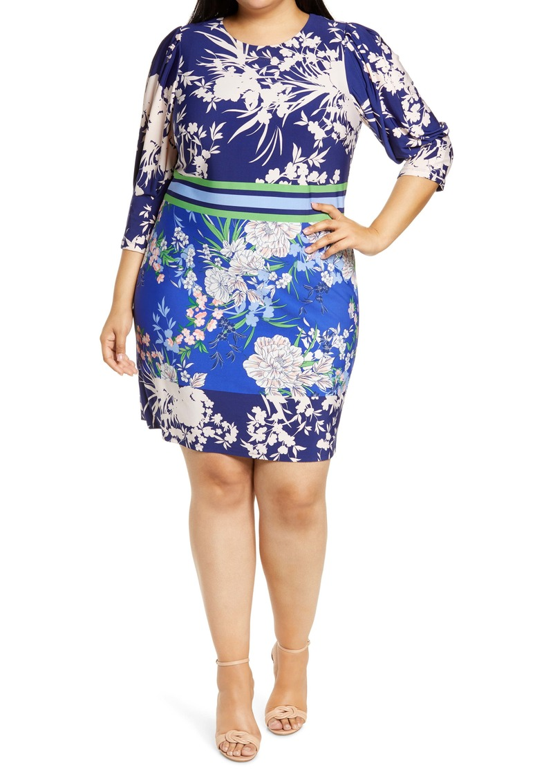 Vince Camuto Floral Stripe Jersey Shift Dress (Plus Size)