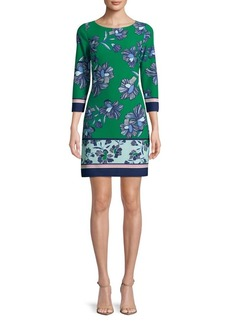 Vince Camuto Floral Three-Quarter Shift Dress