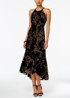 Vince Camuto Floral Velvet High-Low Midi Dress