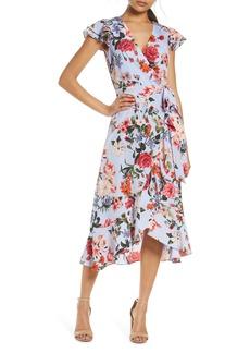 Vince Camuto Floral Wrap Front A-Line Crêpe de Chine Dress