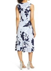 Vince Camuto Floral Wrap Front Sleeveless Midi Dress