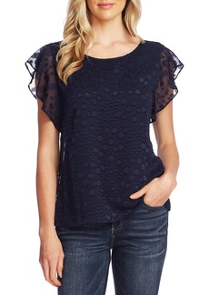 Vince Camuto Flutter Sleeve Bubble Dot Top