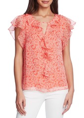 Vince Camuto Flutter Sleeve Chiffon Top