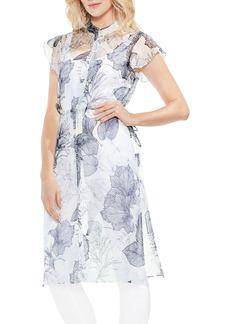 Vince Camuto Flutter Sleeve Floral Shirtdress
