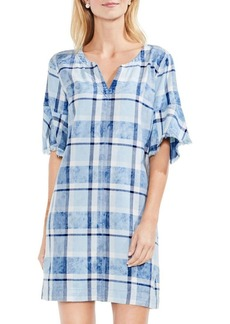 Vince Camuto Flutter-Sleeve Plaid Pullover dress