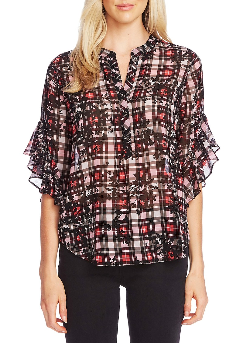 Vince Camuto Flutter Sleeve Plaid Silhouette Top