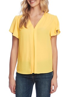 Vince Camuto Flutter Sleeve Rumple Satin Blouse