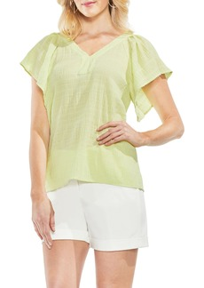 Vince Camuto Flutter Sleeve Smocked Top (Regular & Petite)