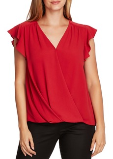 Vince Camuto Flutter Sleeve Wrap Front Blouse