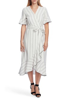 Vince Camuto Flutter Sleeve Wrap Midi Dress