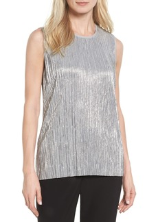 Vince Camuto Foiled Plissé Knit Top