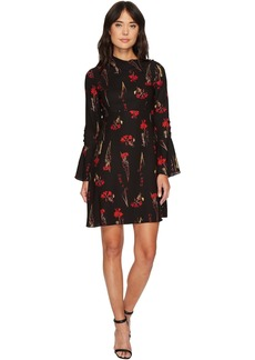 Vince Camuto Fold-Over Collar Botanical Flare Dress