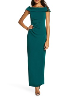 Vince Camuto Foldover Neck Side Ruched Column Gown