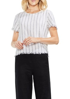 Vince Camuto Fray Edge Pinstripe Linen Blend Top