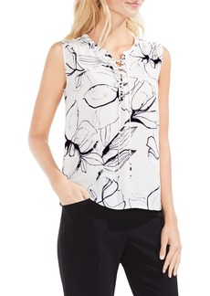 Vince Camuto Fresco Petals Lace-Up Blouse