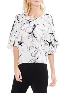Vince Camuto Fresco Petals Tiered Ruffle Sleeve Blouse