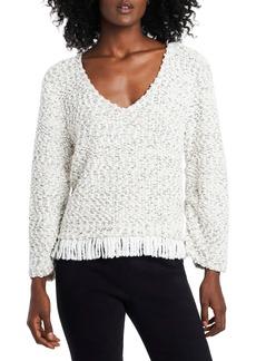 Vince Camuto Fringe Hem Cotton Blend Bouclé Sweater