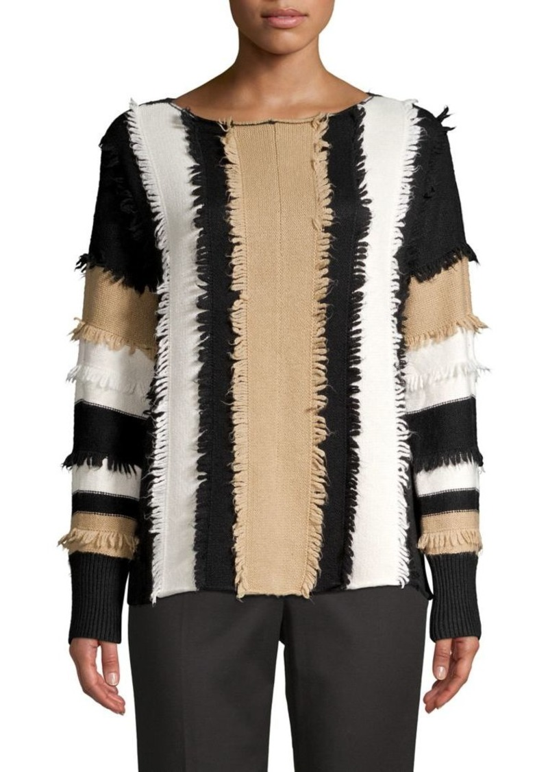 Vince Camuto Fringe Knit Colorblock Pullover