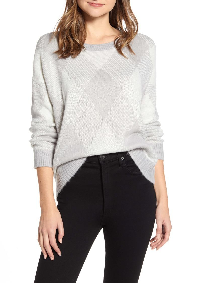 Vince Camuto Fuzzy Argyle Sweater