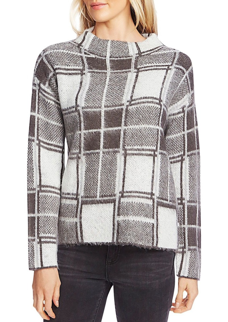 VINCE CAMUTO Fuzzy Plaid Funnel-Neck Sweater