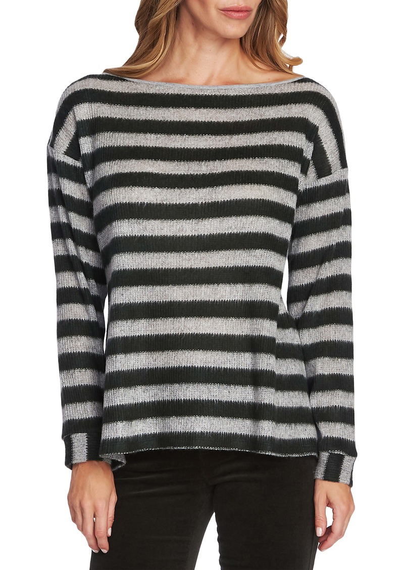 Vince Camuto Fuzzy Stripe Boatneck Sweater