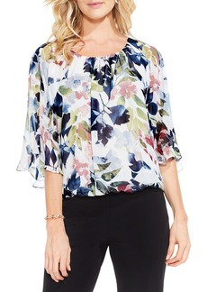 Vince Camuto Garden Expressions Batwing Crepe Top