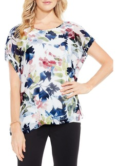 Vince Camuto Garden Expressions Cap Sleeve Crepe Blouse