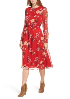 Vince Camuto Garden Fleur Chiffon Blouson Dress (Regular & Petite)