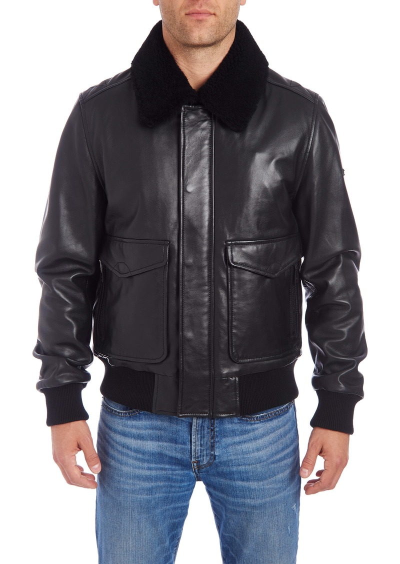 Vince Camuto Genuine Shearling Trim Leather Bomber Jacket