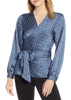 Vince Camuto Geo Accents Belted Wrap Blouse