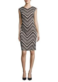 Vince Camuto Geo-Print Cap Sleeve Sheath Dress