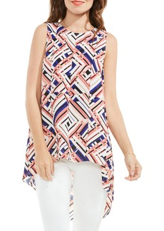 Vince Camuto Geo Print High/Low Blouse