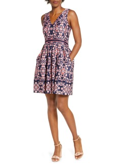 Vince Camuto Geo Print Sleeveless Fit & Flare Dress