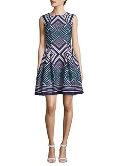 Vince Camuto Geometric Fit-and-Flare Dress