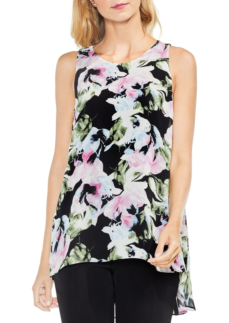 Vince Camuto Glacier Floral Pleated Back Top