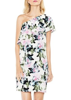 Glacier Floral Ruffled One-Shoulder Dress