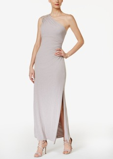 Vince Camuto Glitter Ruched One-Shoulder Gown