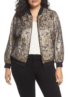 Vince Camuto Gold Foil Bomber Jacket (Plus Size)