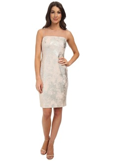 Vince Camuto Gold Knit Bodycon Dress with Illusion Shoulders and Back