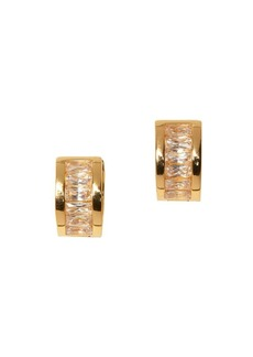 Vince Camuto Goldtone and Crystal Baguette Huggie Earrings
