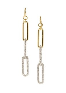 Vince Camuto Goldtone and Glass Stone Linear Link Earrings