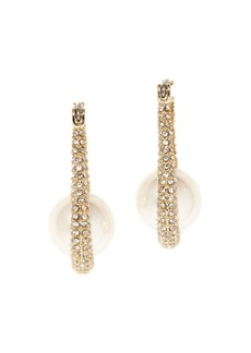 Vince Camuto Goldtone, Glass Stone and Faux Pearl Pave Hoop Earrings