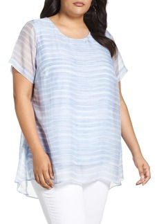 Vince Camuto Graceful Phrases Chiffon Overlay Top (Plus Size)