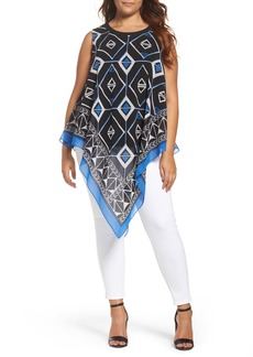 Vince Camuto Graphic Chiffon Handkerchief Blouse (Plus Size)