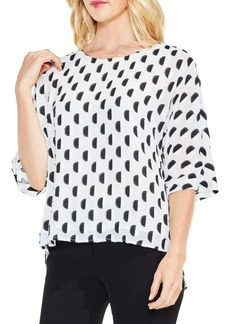 Graphic Dot Clip Jacquard Dolman-Sleeve Blouse