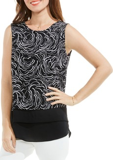 Vince Camuto Graphic Ribbons Mixed Media Top