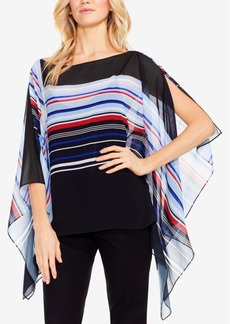 Vince Camuto Graphic-Striped Poncho Top
