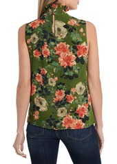 Vince Camuto Guilded Floral Ruffle Neck Sleeveless Top (Regular & Petite)
