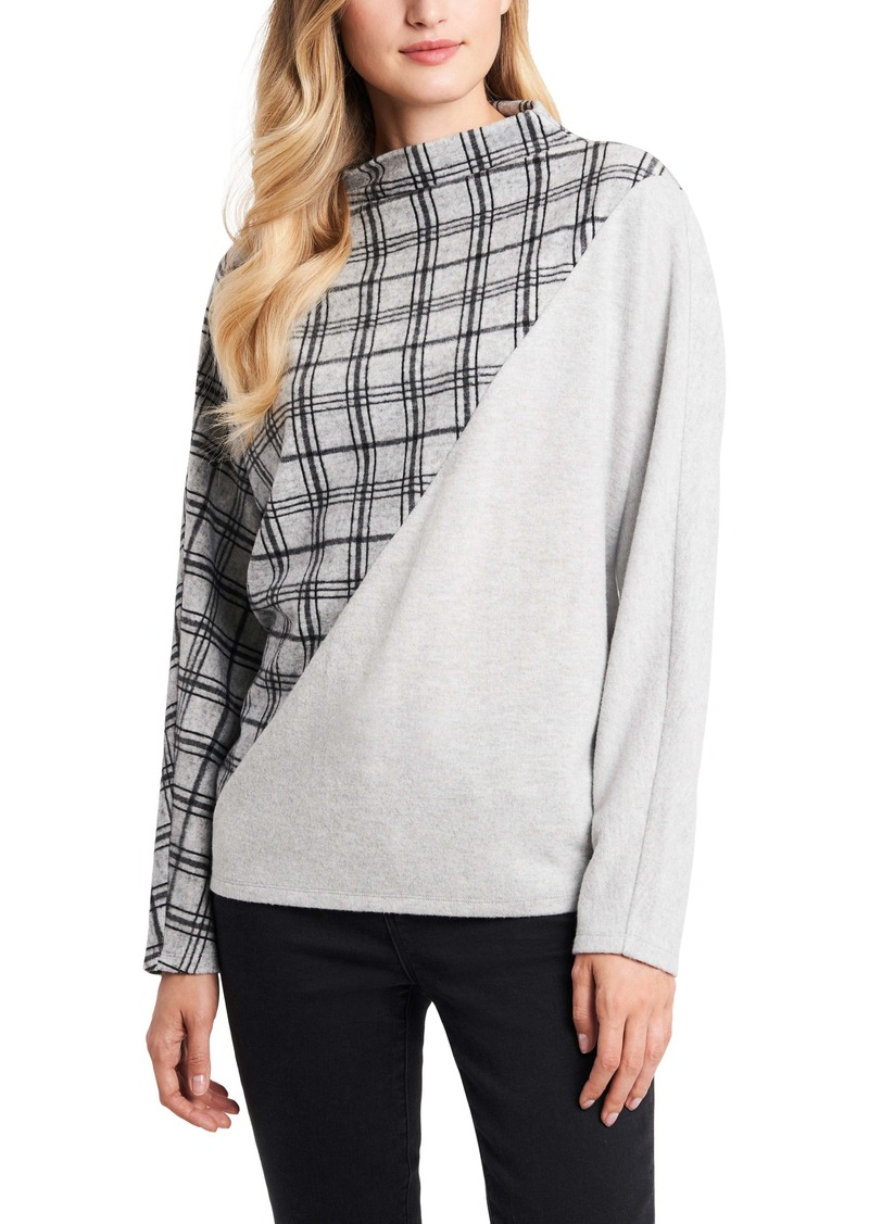 Vince Camuto Half Plaid Jacquard Long Sleeve Top