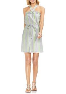 Vince Camuto Halter Top Stripe Cotton Blend Dress